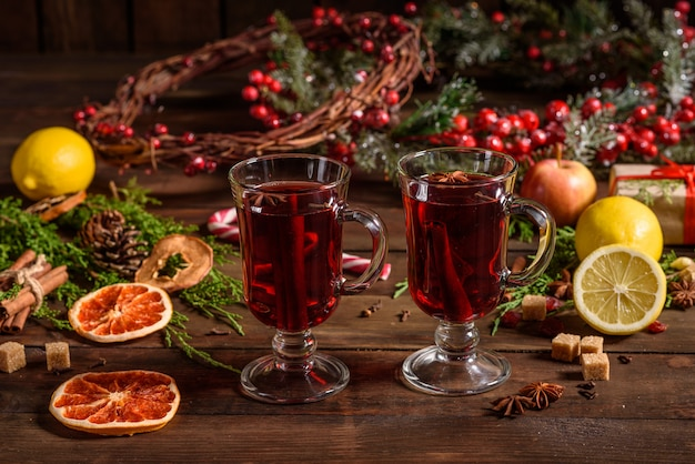 Christmas hot mulled wine with cinnamon