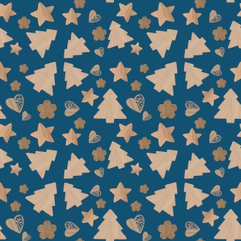 Christmas icons seamless pattern blue background