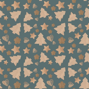 Christmas icons seamless pattern gray background