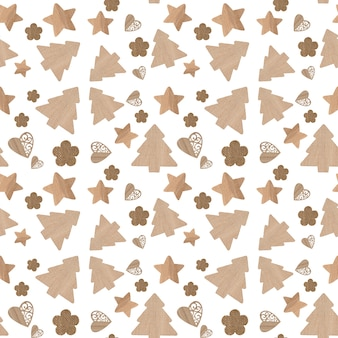 Christmas icons seamless pattern white background