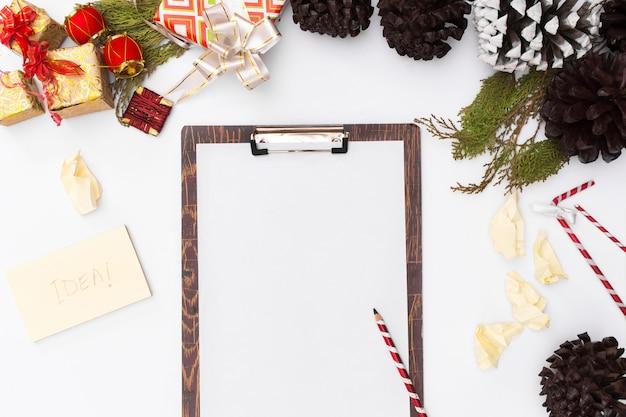 크리스마스 아이디어, 메모, 목표 또는 계획 작성 개념 ..