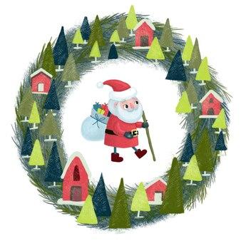 クリスマスのイラスト。贈り物の袋と彼の手に杖と家と花輪を持つかわいい赤ちゃんサンタクロース。白で隔離