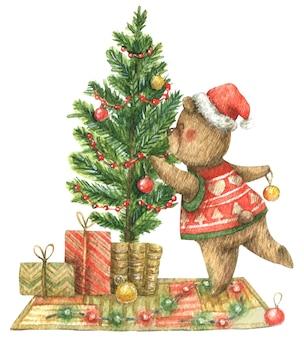Рождественская иллюстрация с бурым медведем, украшающим елку