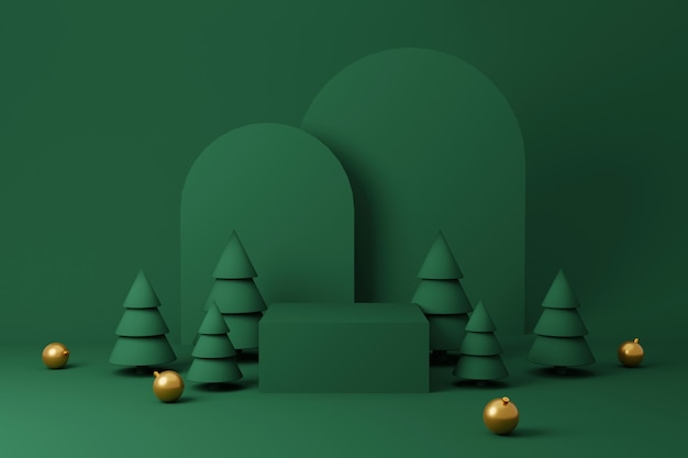 Christmas interior display product with green and gold platform