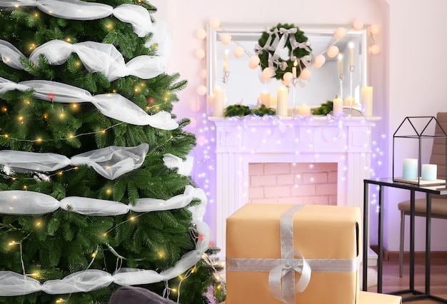 Christmas interior of living room with beautiful fir tree