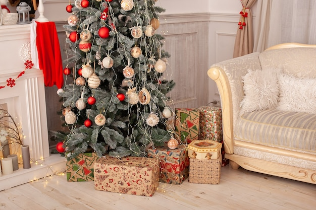 Christmas interior of living room with decorated christmas tree