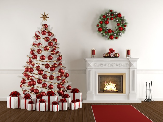 クラシックな暖炉、クリスマスツリー、プレゼント、花輪とクリスマスインテリア