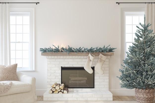 벽난로와 크리스마스 인테리어입니다. 농가 스타일. 인테리어 모형. 3d 렌더링.