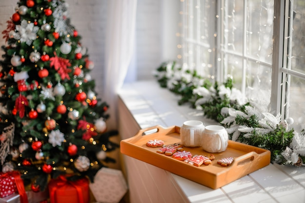 Christmas interior with gift boxes and christmas decoration