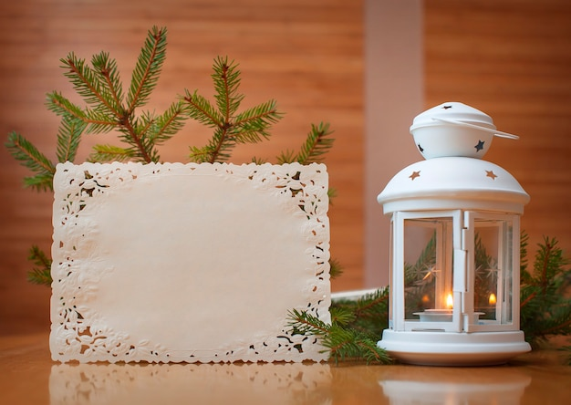 Christmas invitation with place for your text, frame of trees.