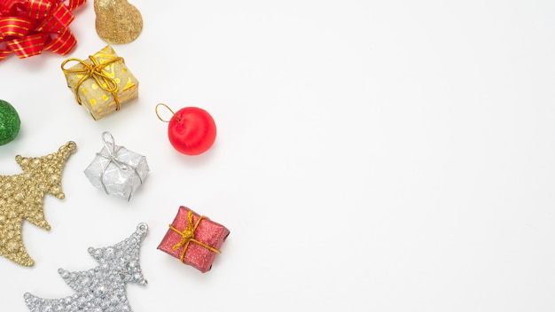 Christmas item on white background isolated top view copy space