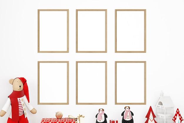 Рождественский детский макет рамки на белом фоне