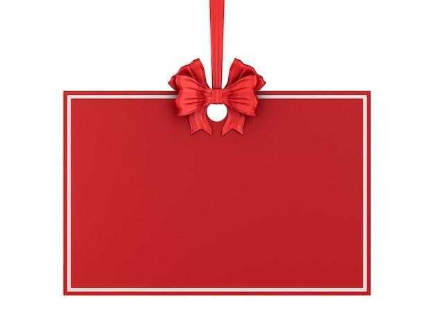 빨간 리본 및 흰색 바탕에 활 크리스마스 레이블. 격리 된 3d 그림