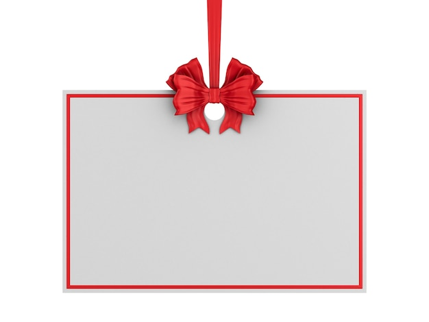 Christmas label with red ribbon and bow on white background. isolated 3d illustration