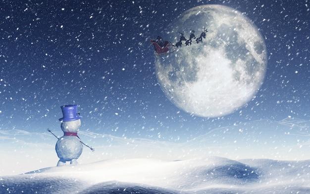 Paesaggio di natale con pupazzo di neve che fluttua a santa nel cielo