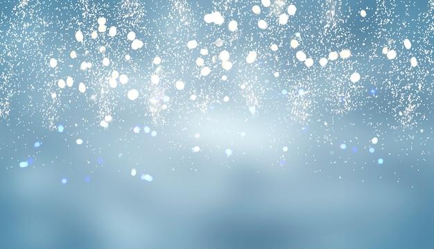 Рождественские огни боке расфокусированные светло-голубой фон