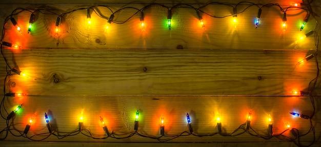Christmas lights frame background.
