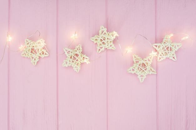 Christmas lights garland with stars border
