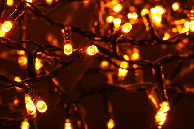 クリスマスライトが光る、クローズアップ