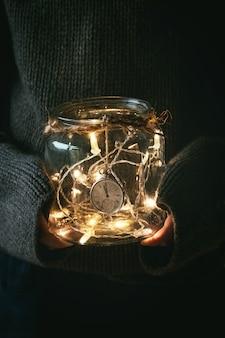 Christmas lights in jar