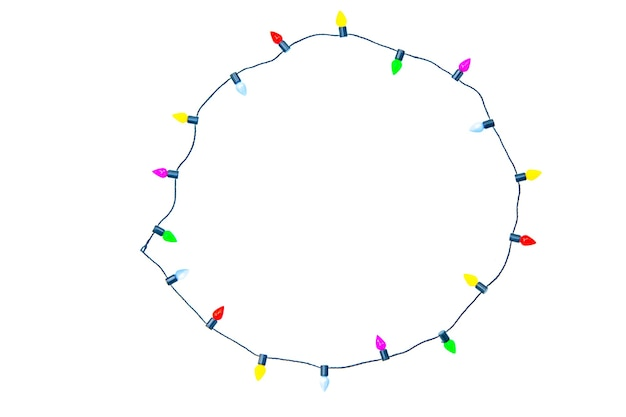 Christmas lights string frame isolated on white with clipping path