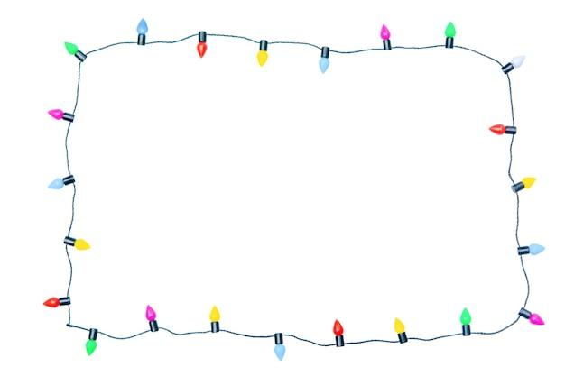 클리핑 패스와 함께 흰색 배경에 고립 된 크리스마스 조명 문자열