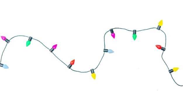 Christmas lights string isolated on white background with clipping path