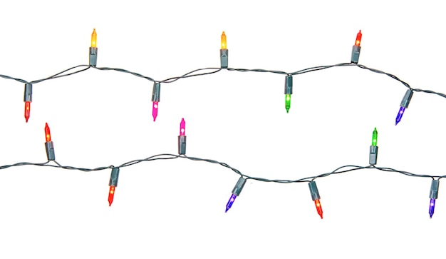 Christmas lights string isolated on white with clipping path