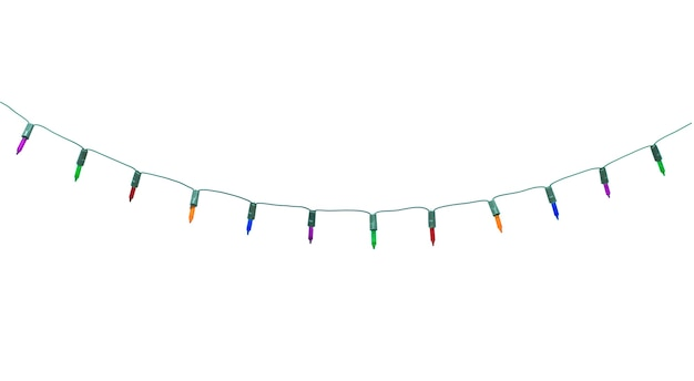 Christmas lights on white isolated.