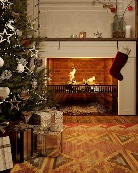 クリスマスツリーとその下にプレゼントと夜のクリスマスリビングルームパーティー。 3dレンダリング