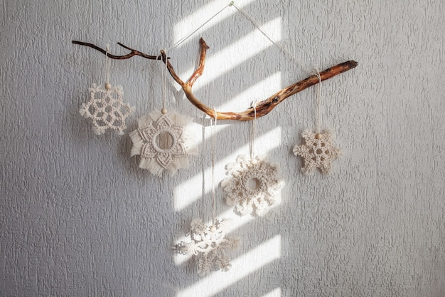 Christmas macrame snowflakesdecor for home and cafe  winter and new year holidays