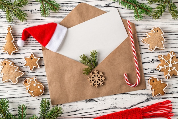 Christmas mail, envelopes with gingerbread cookies, top view