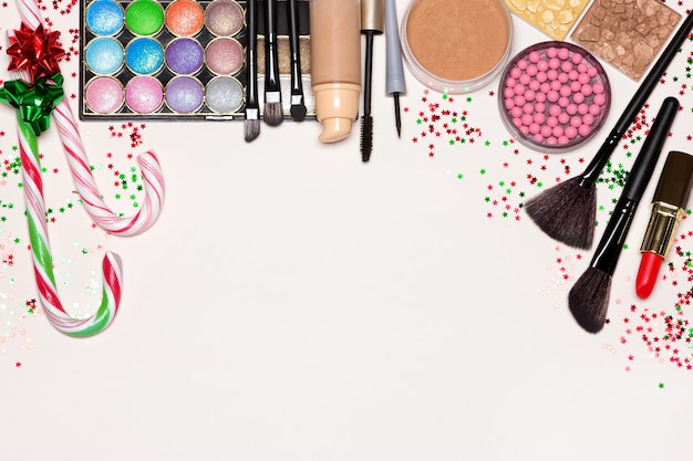 Christmas makeup cosmetics background copy space