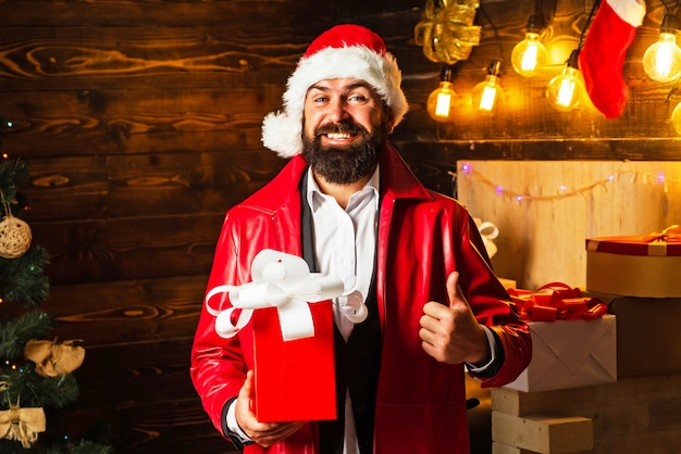 Christmas man in fashion red dress