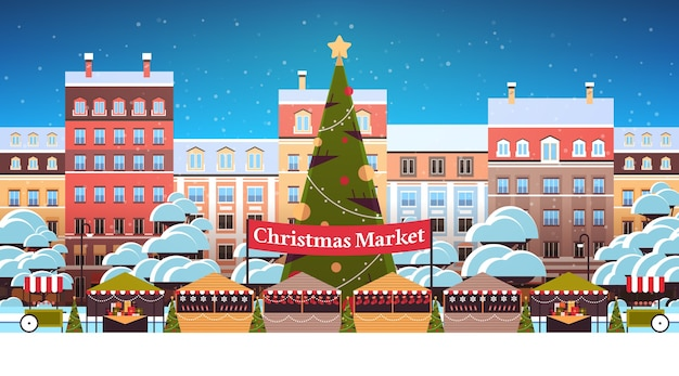 Christmas market or holiday outdoor fair with decorated fir tree merry xmas new year winter holidays celebration concept modern city street cityscape background horizontal vector illustration