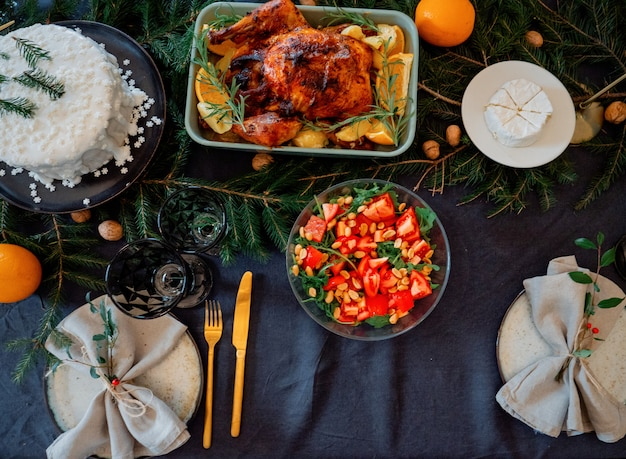 테이블에 크리스마스 식사