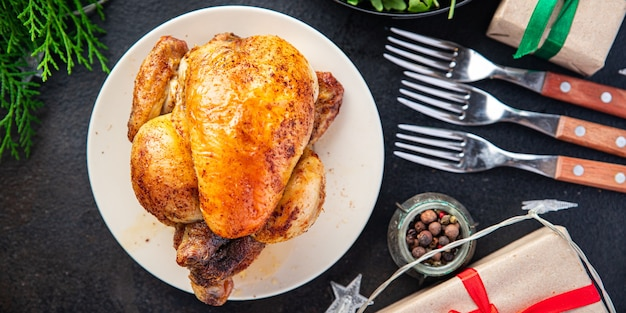 Christmas meat poultry chicken or turkey new year table treat chicken coquelet fresh meal