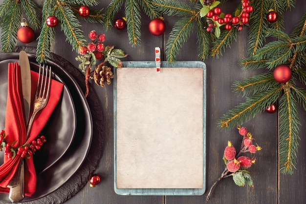Christmas menu mockup on dark background, space