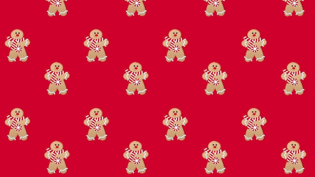 Christmas merry gingerbread man pattern on a red background. new year concept