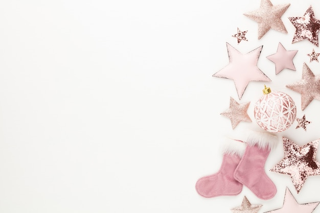 Christmas minimalistic and simple composition in pink color