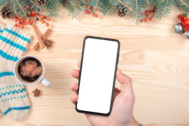 크리스마스 모형 전화. 모호한 크리스마스에 모형 스마트 폰