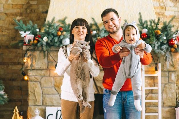 Рождество мама папа сын и кошка