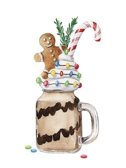 Рождественский коктейль монстра с пряничным человечком. праздничный десерт в банке