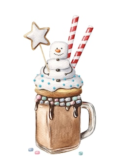 Christmas monster shake with snowman holding gingerbread star. festive dessert in a jar