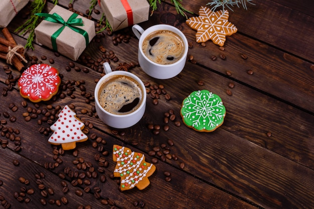 Christmas morning with fragrant coffee