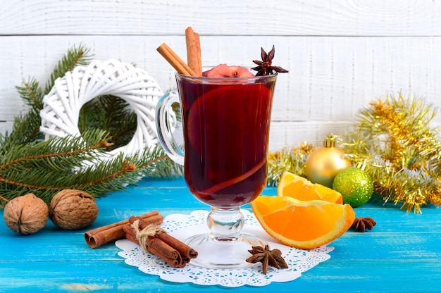 Christmas mulled red wine with spices