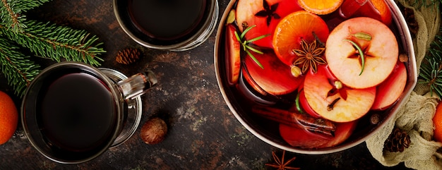 Christmas mulled wine and spices. . banner