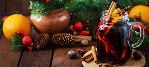 Christmas mulled wine and spices. christmas background. banner