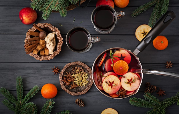 Christmas mulled wine and spices.  flat lay. top view