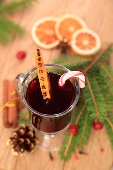 Christmas mulled wine, top view, selective focus